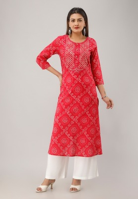 Red Colored Embroidered Work Cotton Kurta