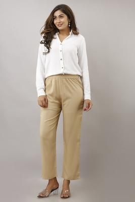 Beige plain rayon trousers
