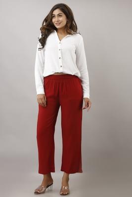 Maroon plain rayon trousers