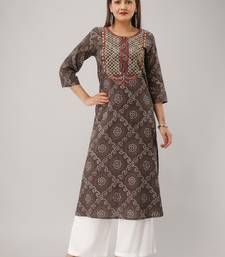 Grey Colored Embroidered Work Cotton Kurta