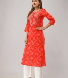 Orange Colored Embroidered Work Cotton Kurta