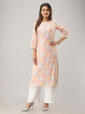 Pink Colored Gota Work Rayon Kurta