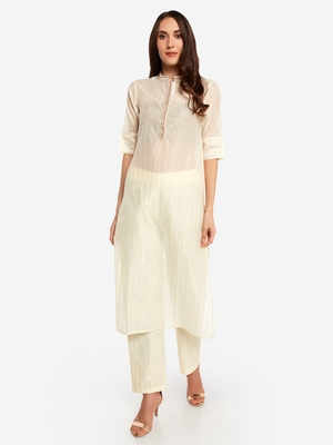 Offwhite poly chanderi  chinese collared Party wear kurta with copper embroidery