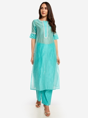 Sea Blue chinese collared Party wear kurta with copper embroidery