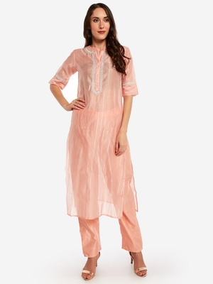 peach chinese collared Party wear kurta with copper embroidery