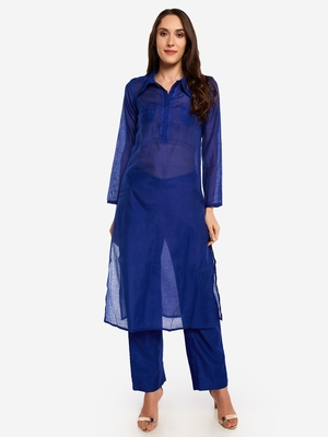 Royal BlueTemple embroidery Kurta with Trouser