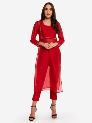 Red Chanderi Pleated Kurta with Trouser