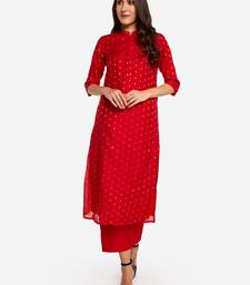 Red kurta with Trouser.