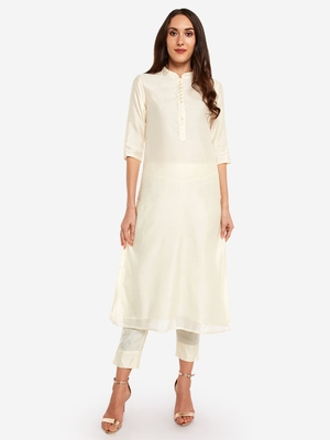 Off White kurta with Trouser.