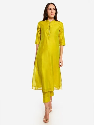 Lime Green kurta with Trouser.