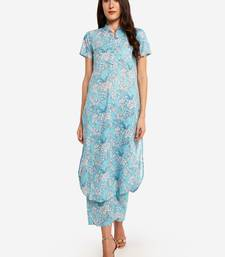 Light Blue Floral Printed kurta with Trouser.