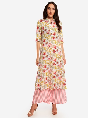Muticolor kurta with pink strip Palazzo