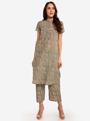 Beige Printed kurta with Trouser