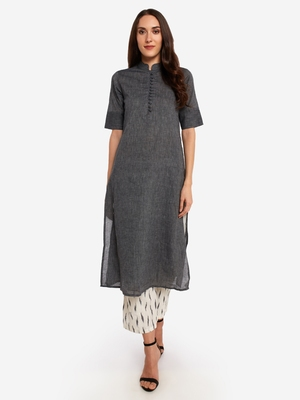 Black kurta with Off White Printed Trouser