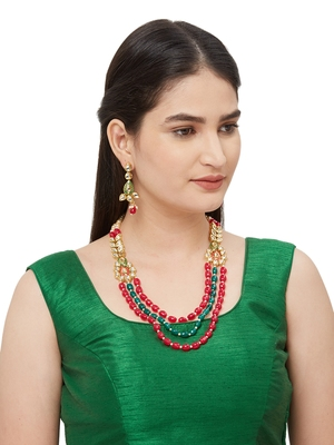 Red And Green Bead Kundan Necklace Sets
