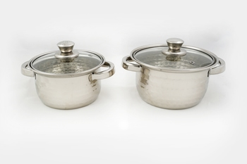 Kitchen krafts 2pcs Hammered Dutch oven set with glass lid, induction compatiable, cook and serve