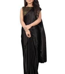 Black plain Satin saree with blouse