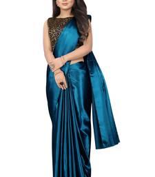turquoise plain Satin saree with blouse