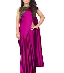 Pink plain Satin saree with blouse