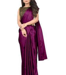 Wine plain Satin saree with blouse
