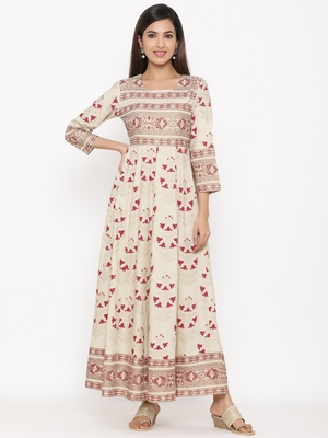 White Women's Rayon Printed Long Anarkali Flared Dress