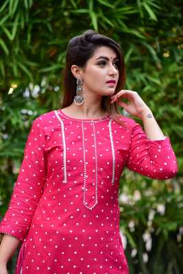Pink Women's Rayon Kurti  with pant have gotta work