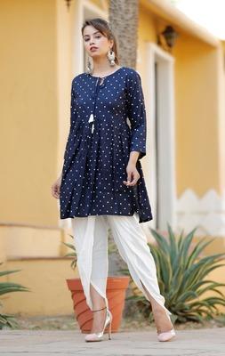 Blue Women's Rayon kurti with  Bottom dhotti