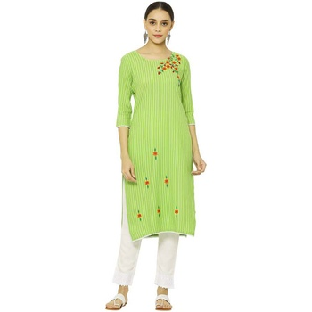 Green Women's Rayon Embroidery kurti with pant