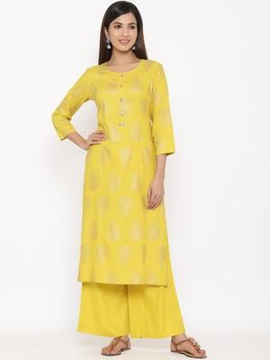 Mustard Women's Rayon slub Gold Print Straight Kurta Palazzo Set