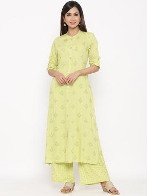 Parrote green Women's Rayon  Gold Print Straight Kurta Palazzo Set