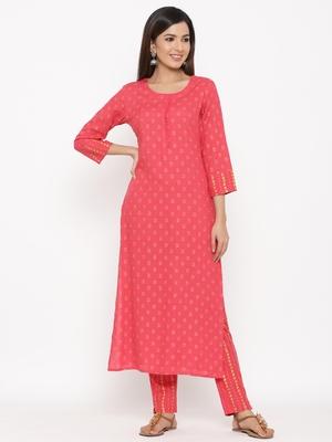 Pink Women's Rayon Slub Floral Print Straight Kurta Pant Set
