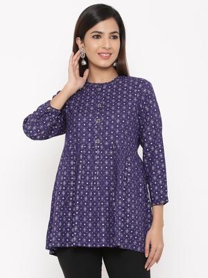 Purple Women's Rayon Printed Casual Top