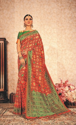 Peach Soft Weaving Silk Pattola Designer Saree For Women