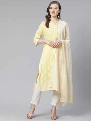 Light-yellow beads cotton salwar