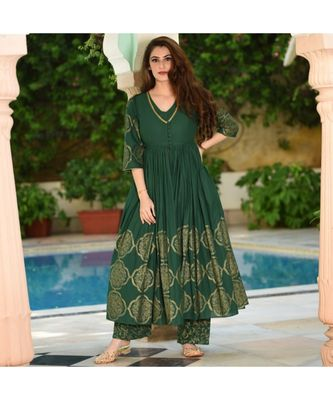 Women Green gold print work kurti with palazzo