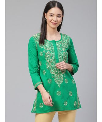 Hand Embroidered Green Cotton Lucknowi Chikan Top