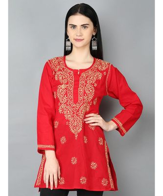 Hand Embroidered Red Pure Cambric Cotton Lucknowi Chikan Top