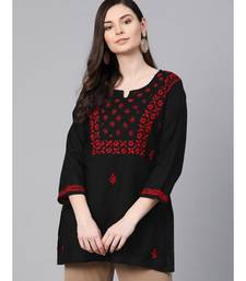 Hand Embroidered Black Cotton Lucknowi Chikan Top