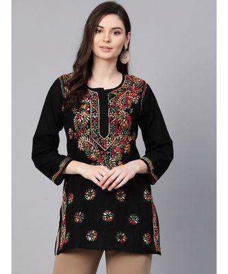 Hand Embroidered Black Cotton Lucknowi Chikankari Top