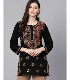 Hand Embroidered Black Cotton Lucknowi Chikankari Top