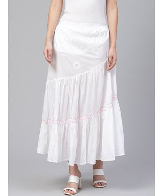 Hand Embroidered White And Pink Cotton Lucknow Chikan Skirt