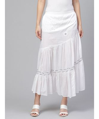 Hand Embroidered White And Grey Cotton Lucknow Chikan Skirt