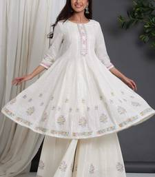 White Colored Soft Cotton Handblock Printed Embroidery Worked Kurta With Plazzo Set