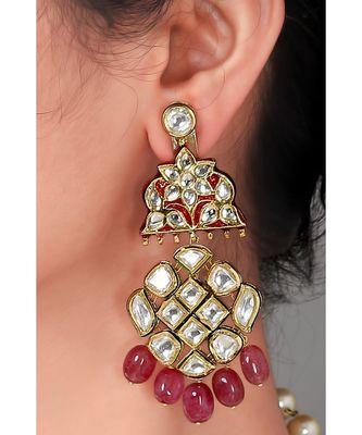 Kundan chandelier earrings with red onyx