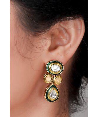 Kundan earrings with green enamelling