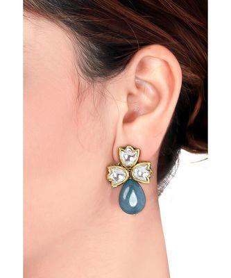 Blue toned kundan earring
