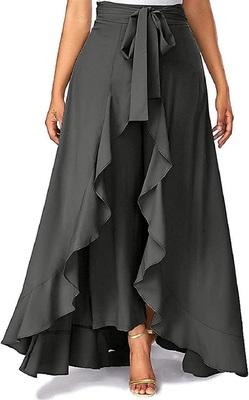 Grey plain crepe palazzo pants