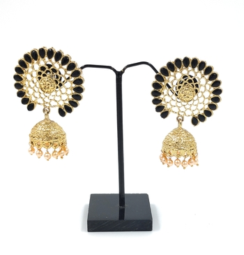 KNIGGHT ANGEL JEWELS BLACK JHUMKA EARRINGS