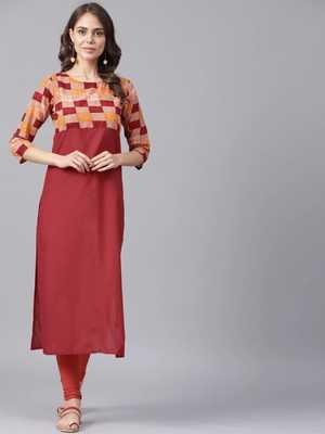 Red Colored Yoke Printed Cotton Kurta