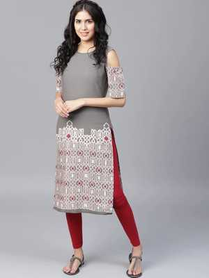 Grey Colored Off-Shoulder Cotton Straight Kurta